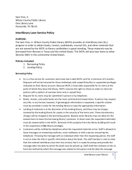 Interlibrary Loan Service Policy