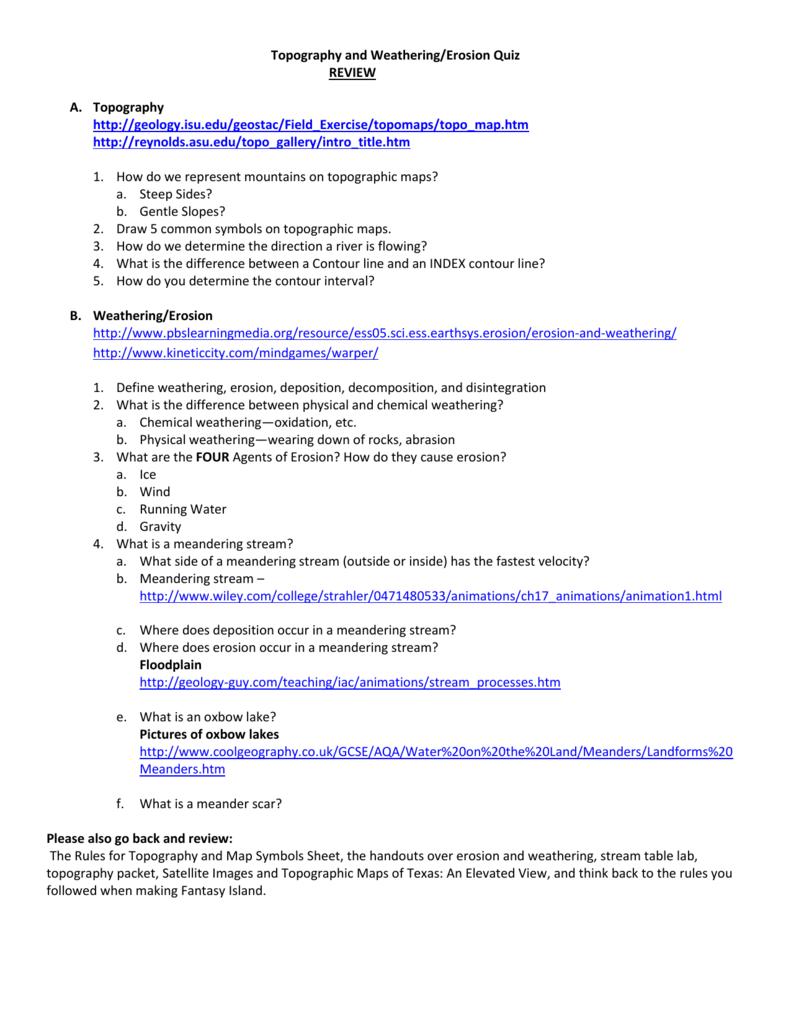 worksheet Weathering Erosion And Deposition Worksheet topography and weatheringerosion quiz review http