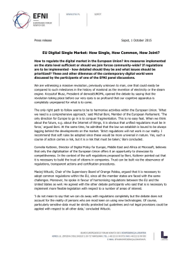 Press release Sopot, 1 October 2015 EU Digital Single Market: How