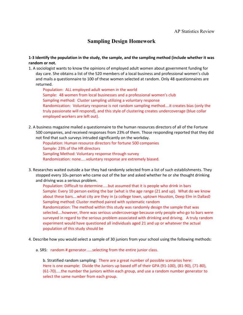 Sampling Design Homework