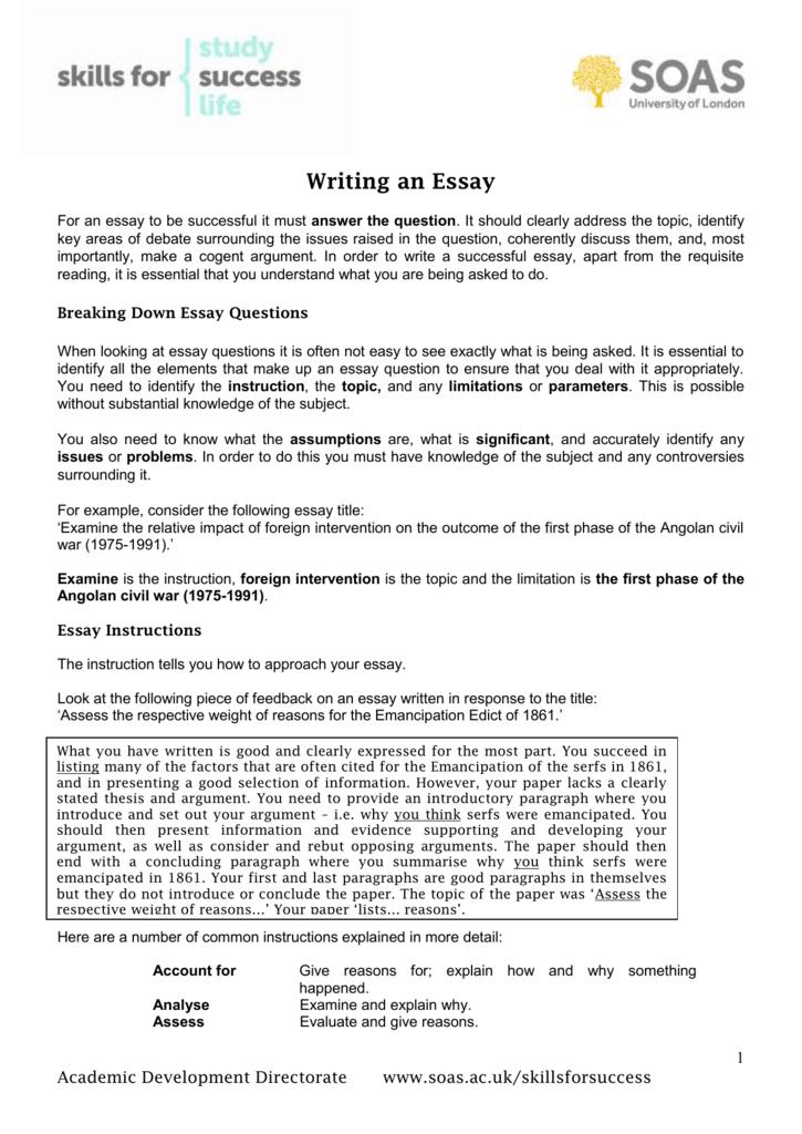 Breaking down essay questions