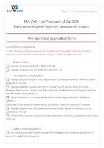 Pre-proposal application form - Agence Nationale de la Recherche