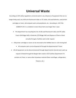 Universal Waste - UC Davis Department of Entomology and