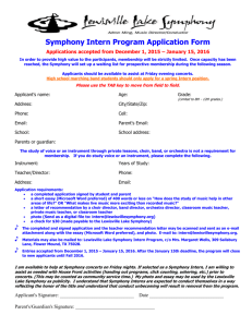 Symphony Intern Program Application Form