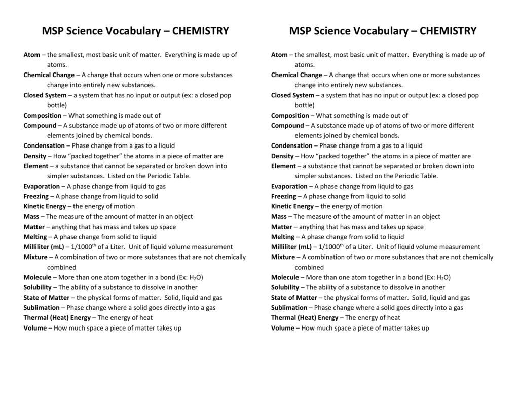 Msp science vocabulary chemistry gamestrikefo Choice Image