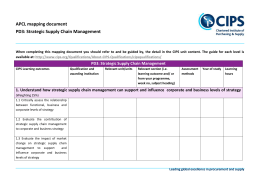 PD3: Strategic Supply Chain Management
