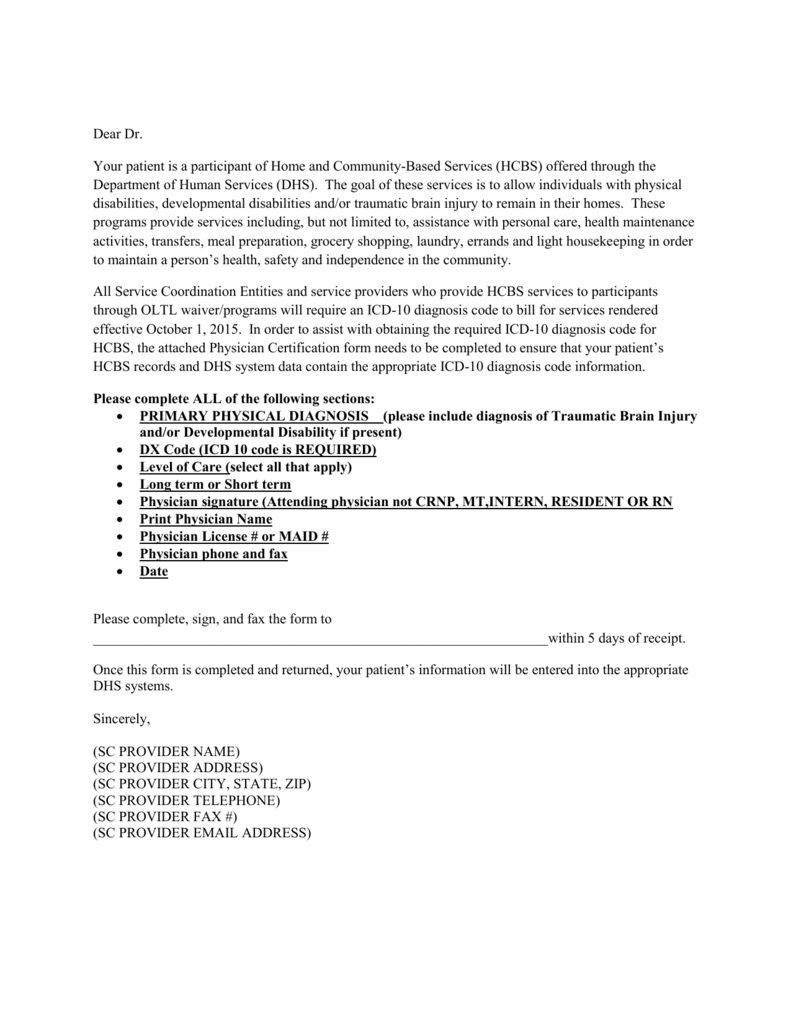 ICD-10 SC Physician Letter