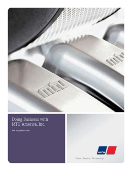 Manual for Doing Business with MTU America