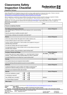 Safety Inspection Checklist Classroom