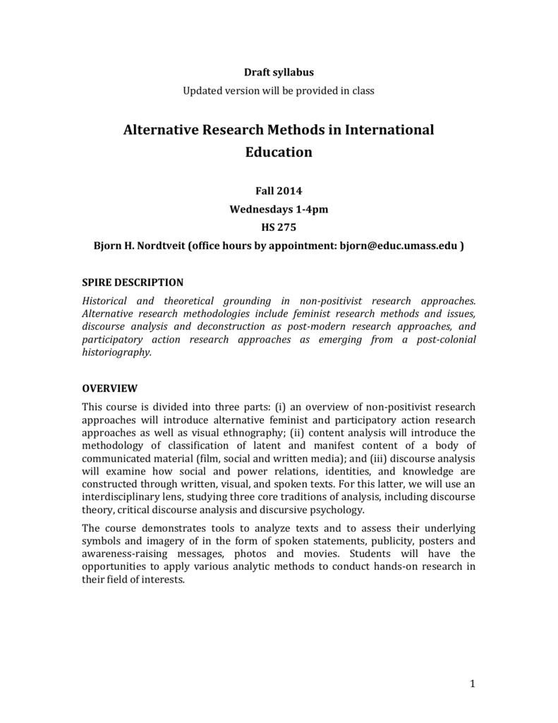 Alternative Research Methods in International Education