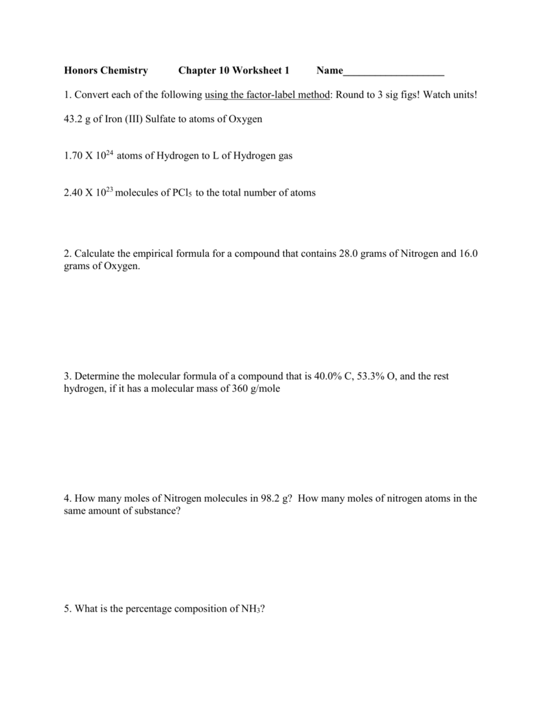 Chapter 10 Worksheet 1 – Gram Formula Mass Worksheet