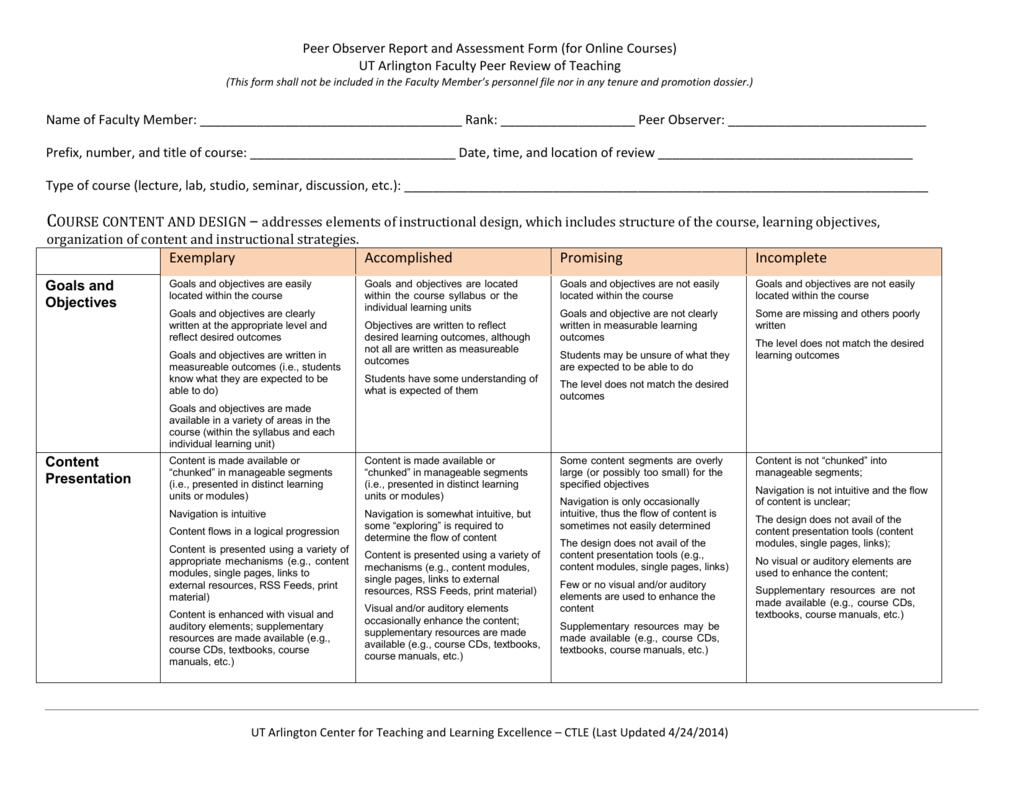 Peer Observer Report (online course)