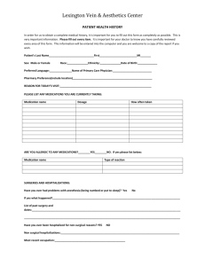 Patient Health History Form - Lexington Vein & Aesthetics Center