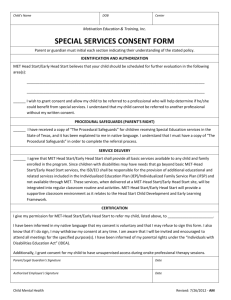 Special Services Consent Form - English