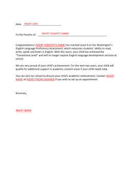 Transition Placement Letter