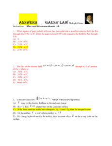 Gauss` Law MC Student version ANSWERS