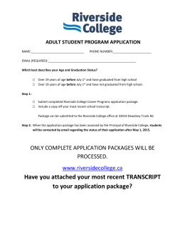 ADULT PROGRAM APPLICATION (For students