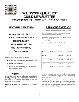 2015 march newsletter - Wiltwyck Quilters Guild