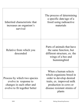 BCPS Biology Reteaching Guide Evolution Vocab Card Definitions