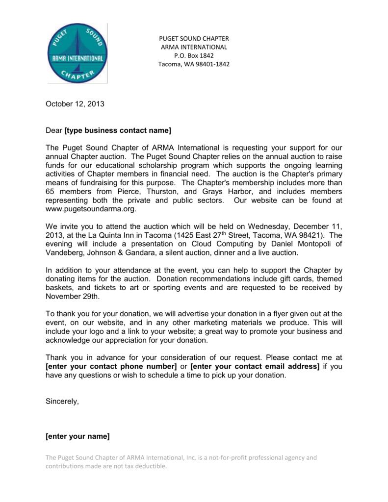 vendor donation letter
