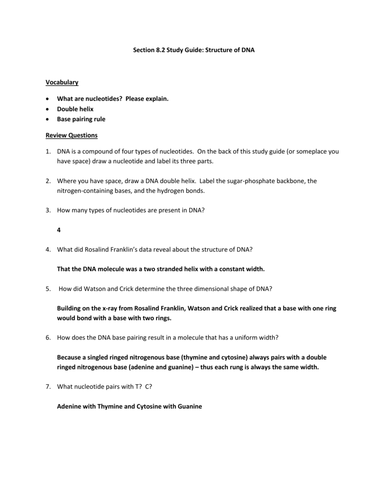 worksheet 12.2 The Structure Of Dna Worksheet Answers click here for section 8 2 study guide