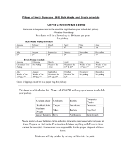 Bulk Waste Pickup Schedule - Village of North Syracuse, NY