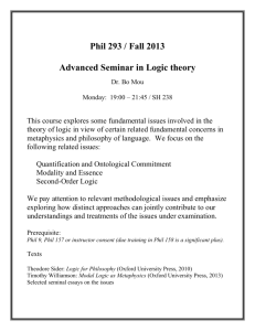 Phil 293 / Fall 2013 Advanced Seminar in Logic theory