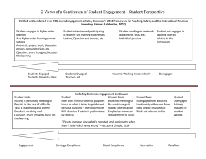 2 Views of a Continuum of Student Engagement * Student Perspective
