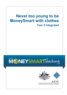 ASIC MoneySmart Teaching primary integrated year 5 unit