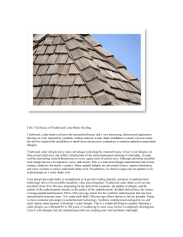 Title: The Basics of Traditional Cedar Shake Roofing Traditional