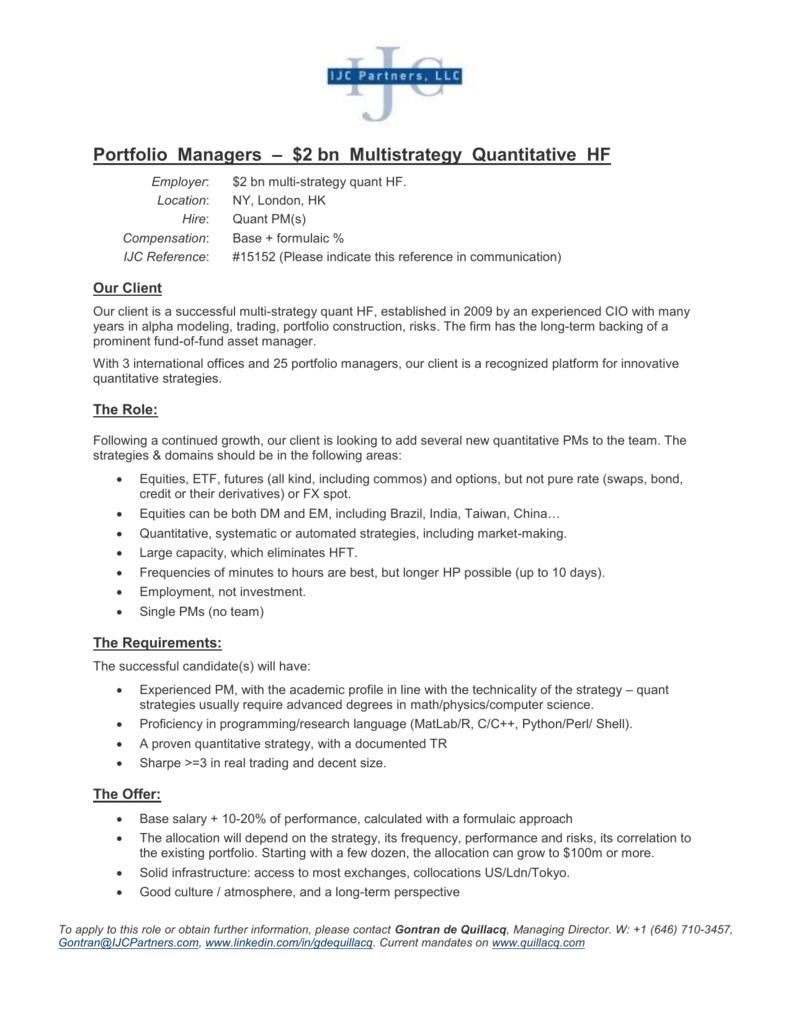 Portfolio Managers – $2 bn Multistrategy Quantitative HF