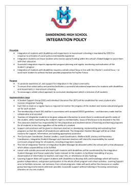 Integration Policy - Dandenong High School