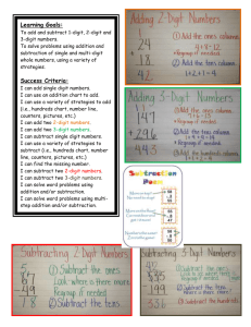 Adding and Subtracting Learning Goals and Success