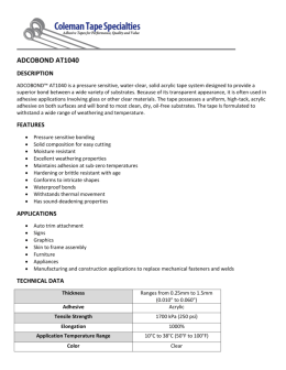 View Specification Sheet - Coleman Tape Specialties
