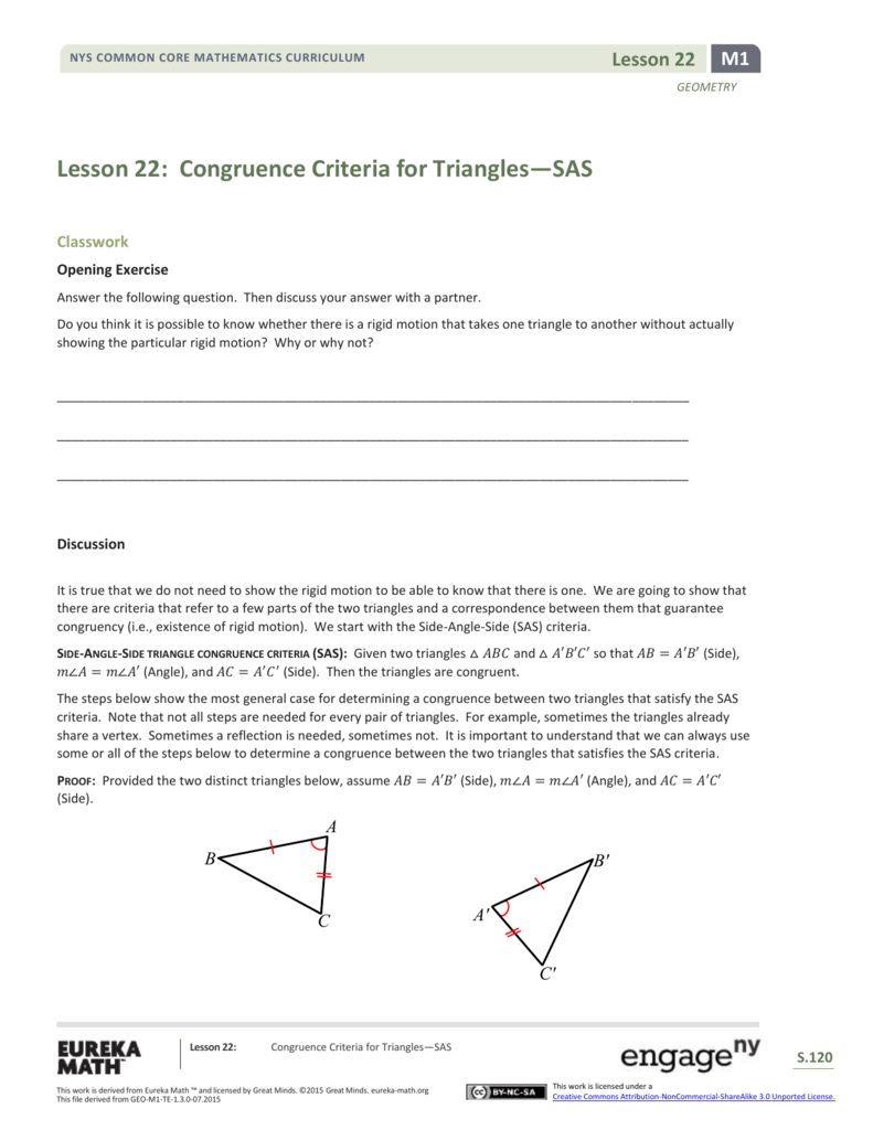 Lesson 22 Congruence Criteria For Triangles Sas