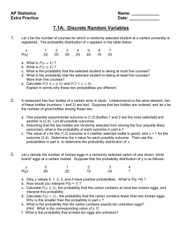 worksheet on discrete continuous with probability distributions. Black Bedroom Furniture Sets. Home Design Ideas