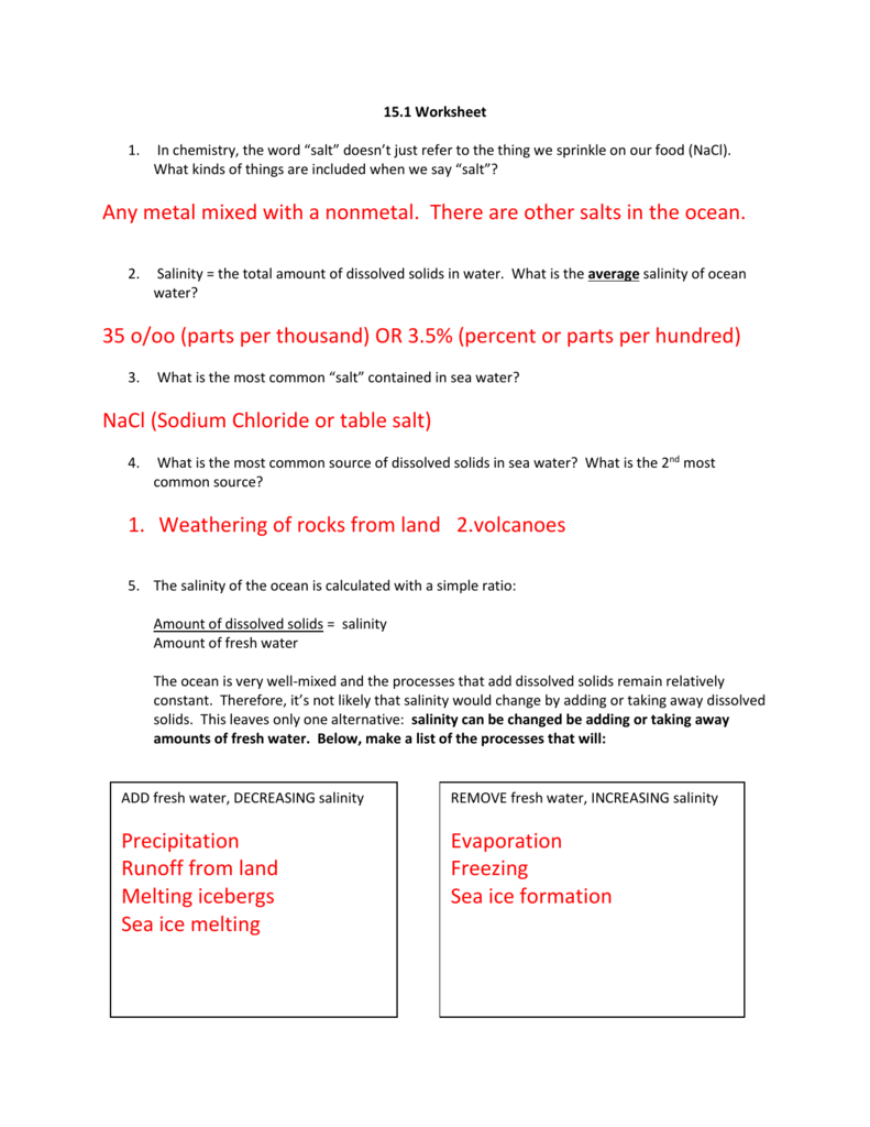 worksheet Oceanography Worksheets 15 1 worksheet key