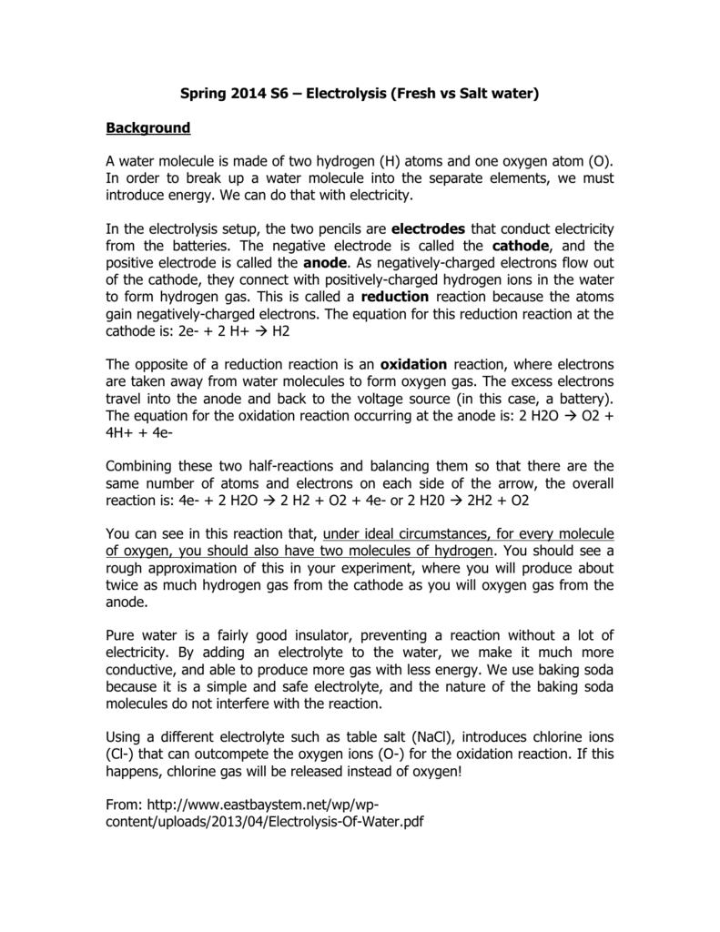 Spring 2014 S6 – Electrolysis (Fresh vs Salt water) Background A
