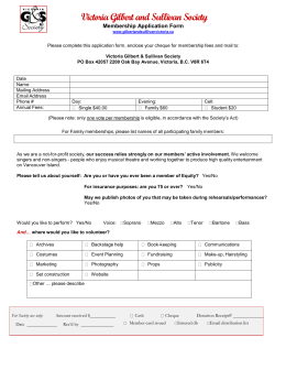 Membership Application Form - The Victoria Gilbert And Sullivan