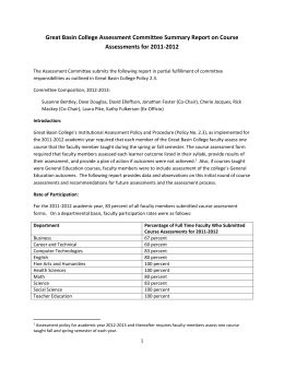 Assessment Summary Report for 2011-2012