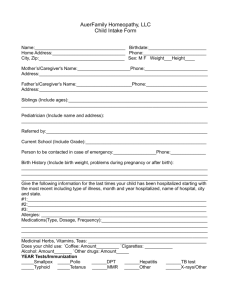 AuerFamily Homeopathy, LLC Child Intake Form Name: Birthdate
