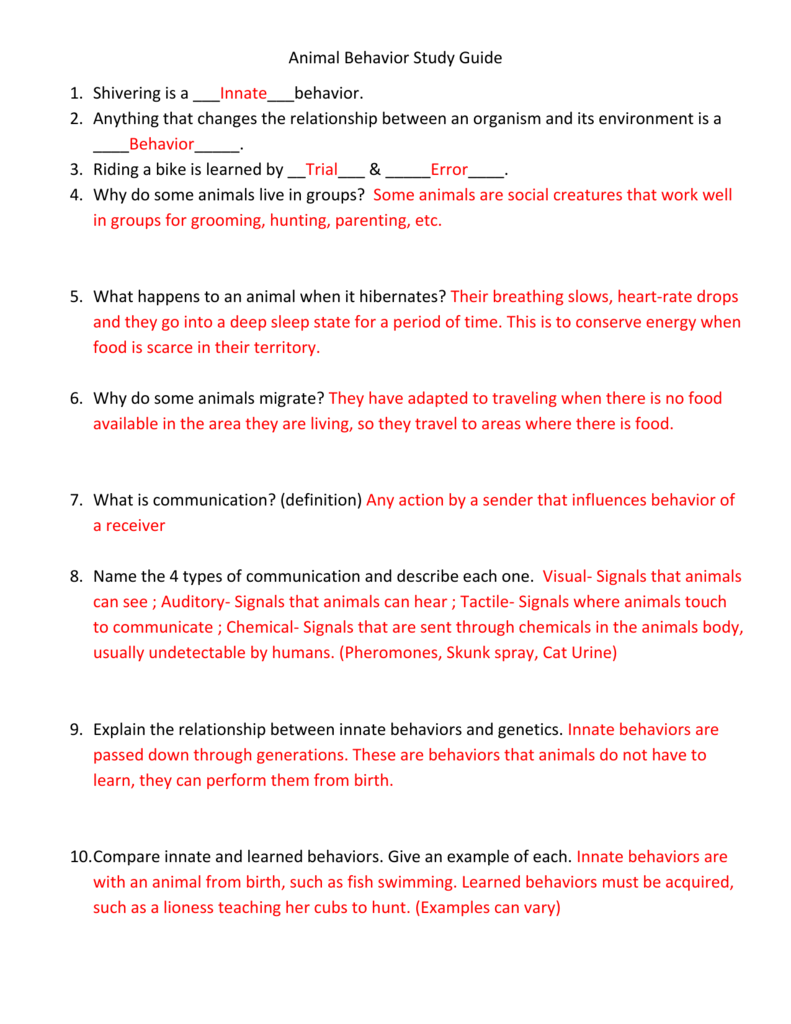 Animal Behavior Study Guide Answer Key