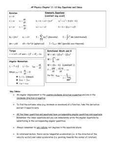 Chapter 11-12 Key Equations and Ideas