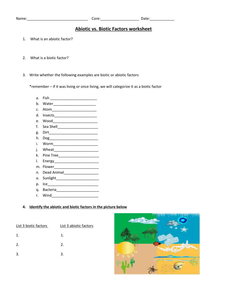 Abiotic vs Biotic Factors – Abiotic and Biotic Factors Worksheet
