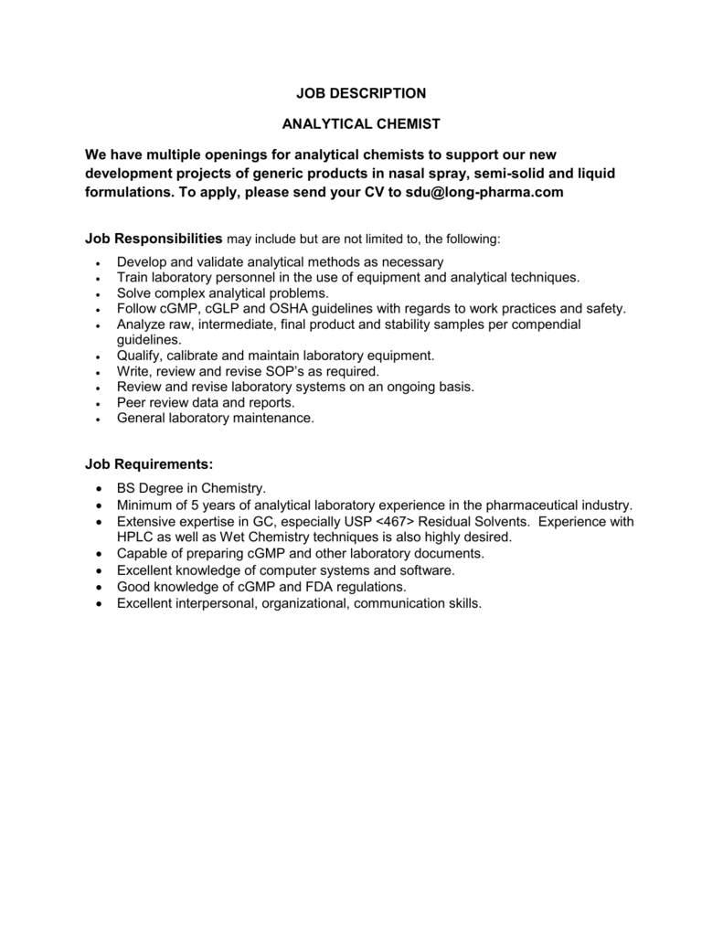 Analytical Chemist - multiple positions