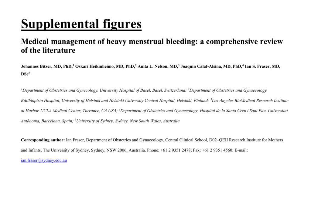 Medical management of heavy menstrual bleeding