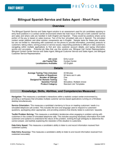 Bilingual Spanish Service and Sales Agent