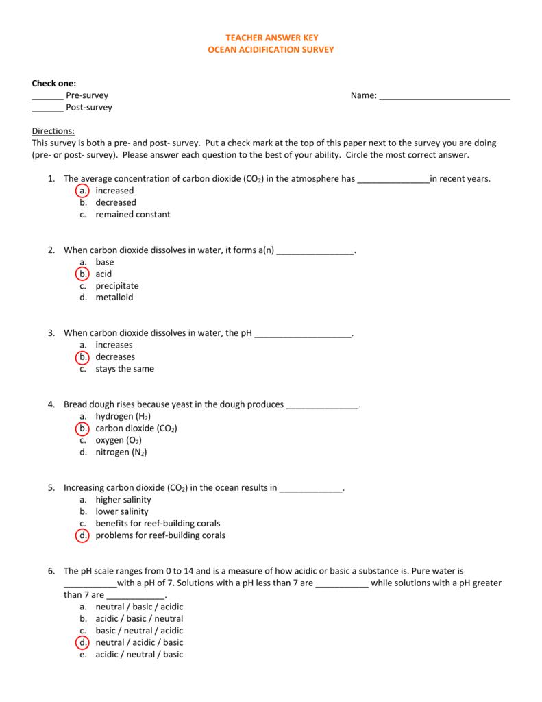 Ocean Acidification_Teacher Answer Keys