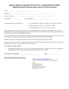 Spartan Debate Institutes: 2003 FINANCIAL AID REQUEST FORM
