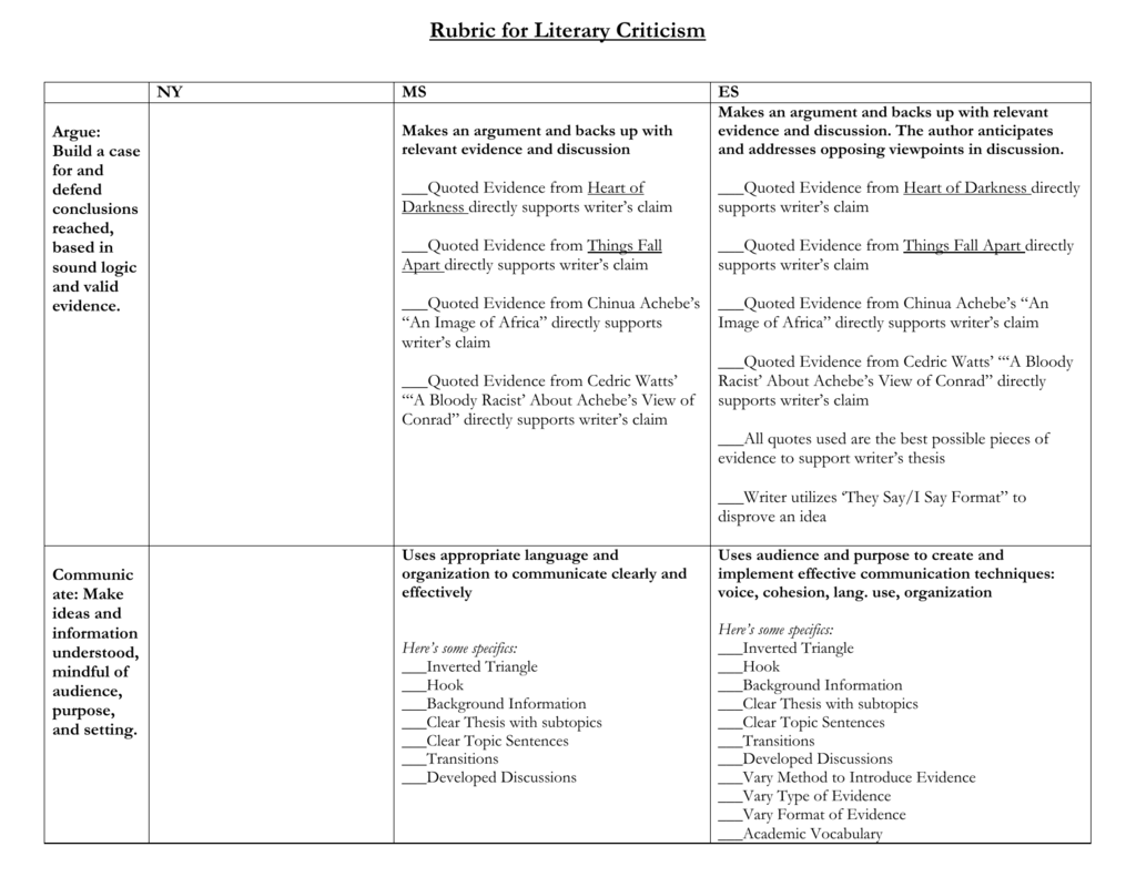 Heart Of Darkness Things Fall Apart Writing Rubric